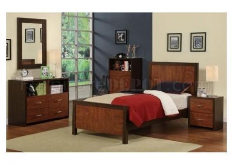 Two-Tone Walnut Finish Q Bedroom set